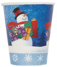8 Snowman Gifts Paper Party Cups